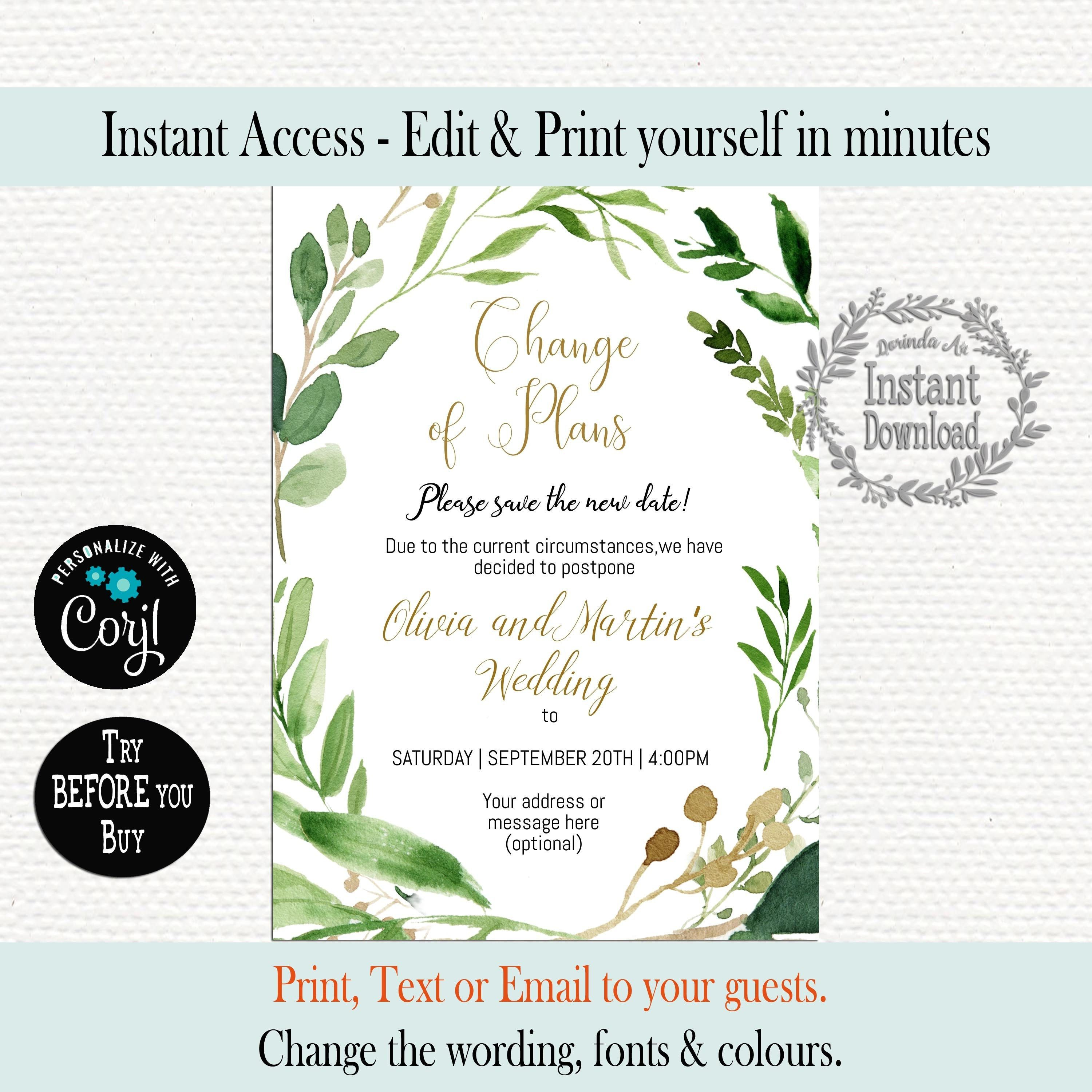 4X6 Printable Rescheduled Wedding Photo Save the Date Take Two Greenery Change The Date Wedding Postponement Card Instant Download