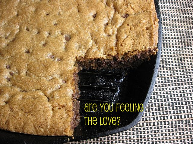 Deep Dish Iron Skillet Chocolate chip cookie. Crispy crunch on the outside and yummy moistness in the middle.
