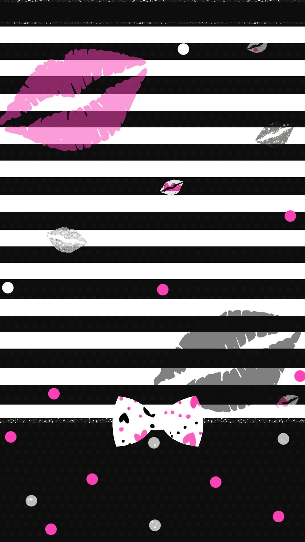 Striped Girly Lips Wallpaper