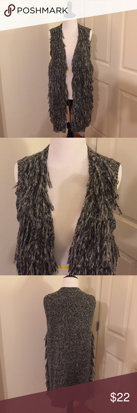 H&M Gray Fringe Vest NWOT Awesome vest in a soft knit with fringe at front and no buttons.  56% acrylic, 44% polyester H&M Sweaters