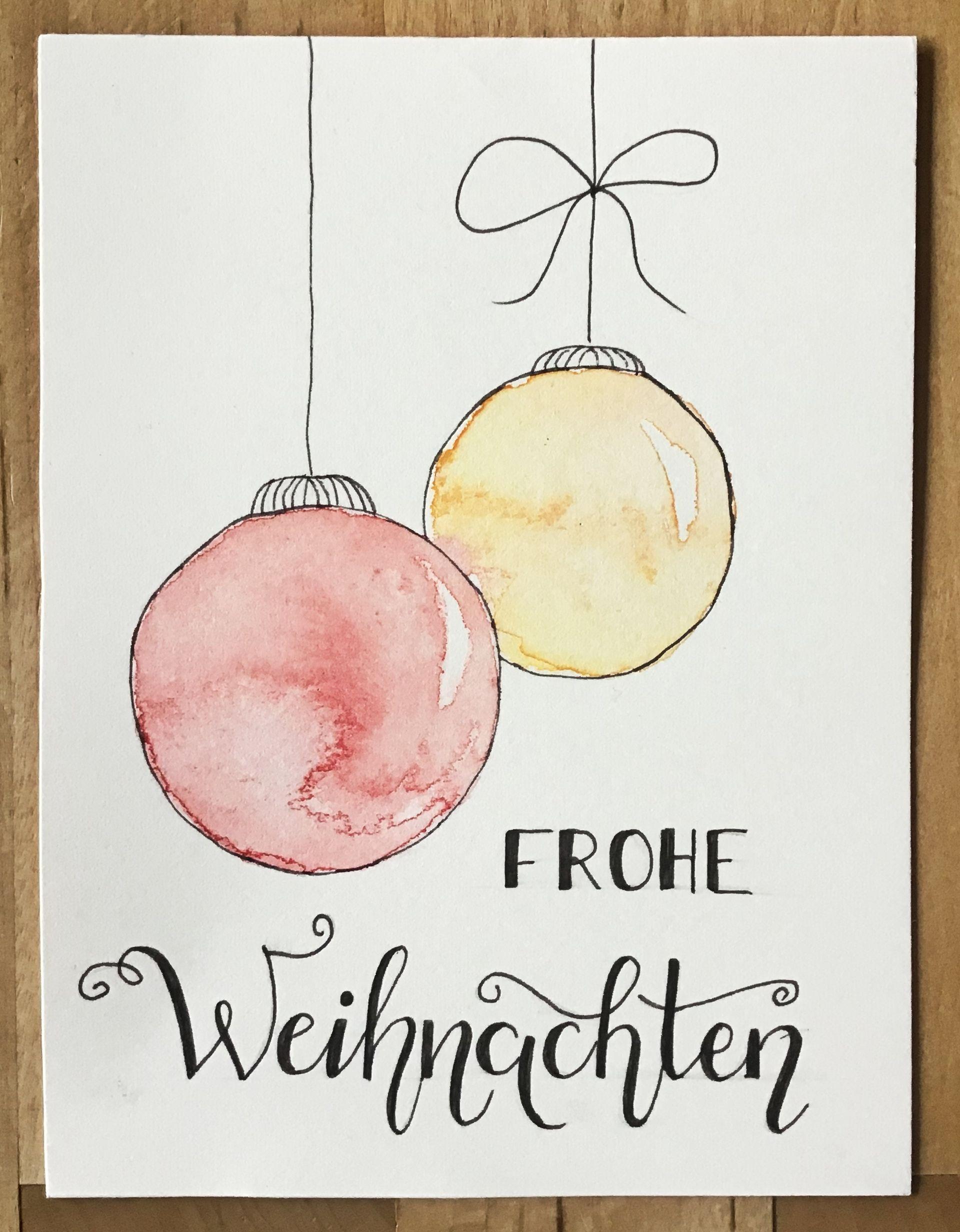 Weihnachtskarte Mit Christbaumkugeln Aquarell Handlettering