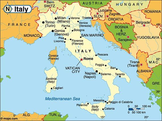 Destination Italy Travel And Tourist Information Map Italy