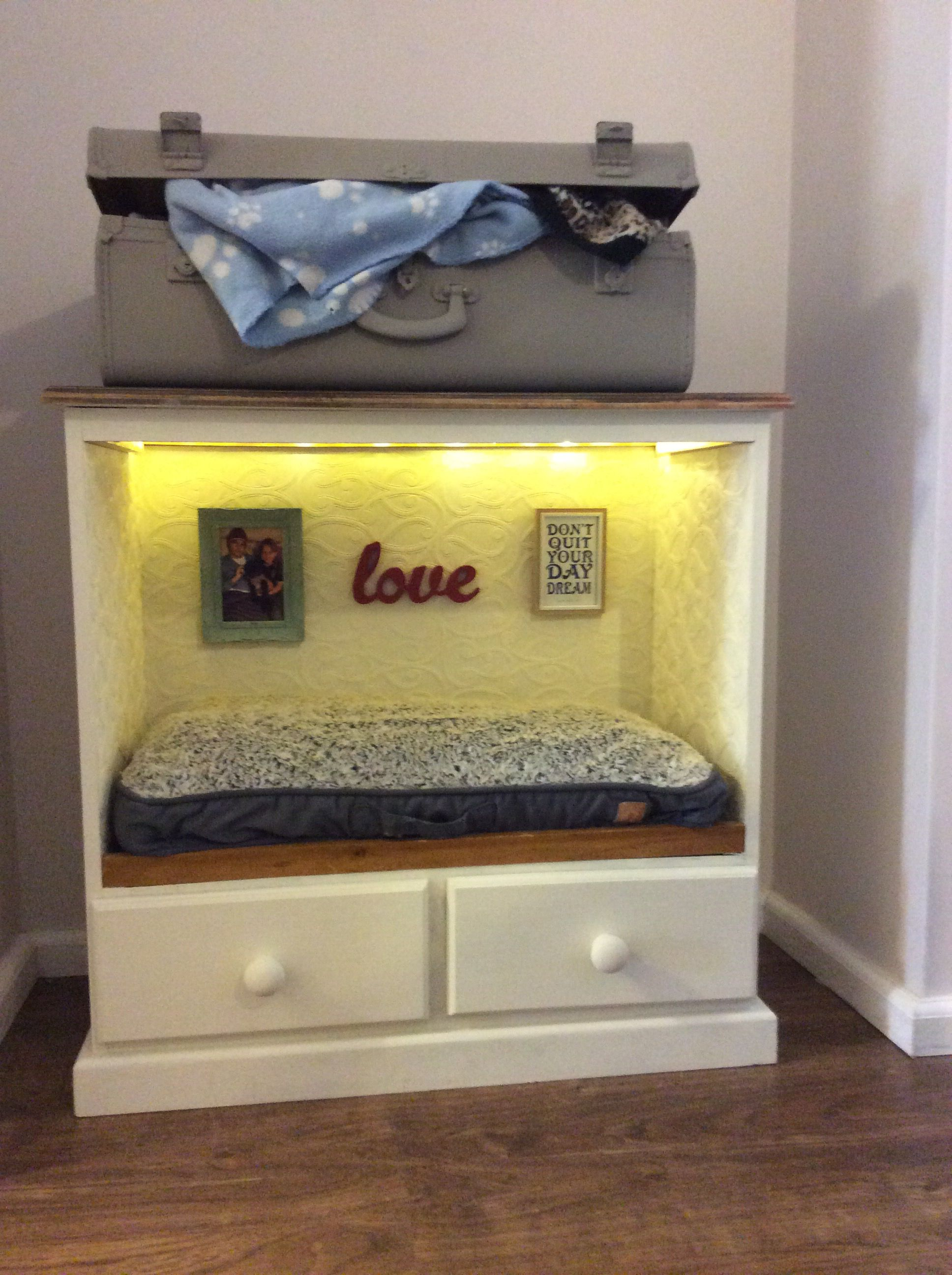 Up Cycled Dog Bed Made From Old Drawers With An Old Suitcase For Storage Diy Pet Bed Cool Dog Beds Dog House Bed