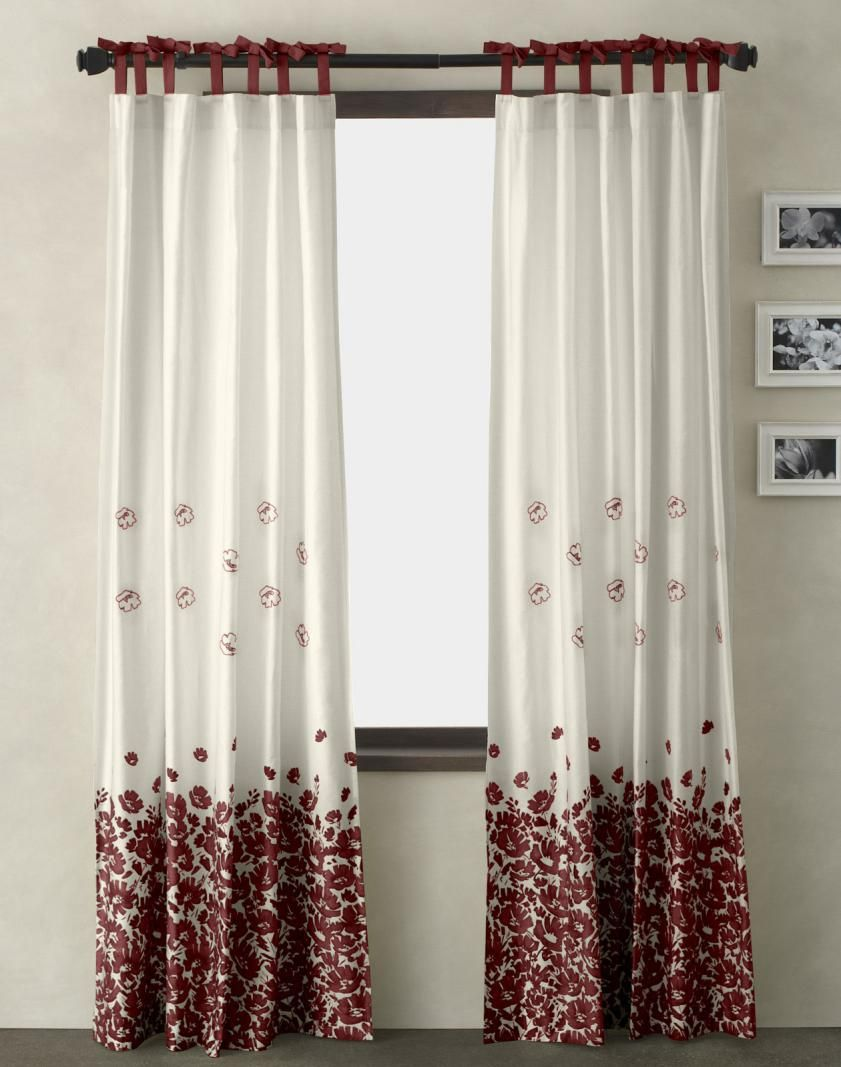 Beautiful White Modern Living Room Curtain with Floral Flower Red ...