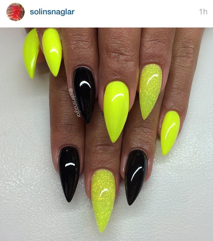 Yellow and black stiletto nails in 2019
