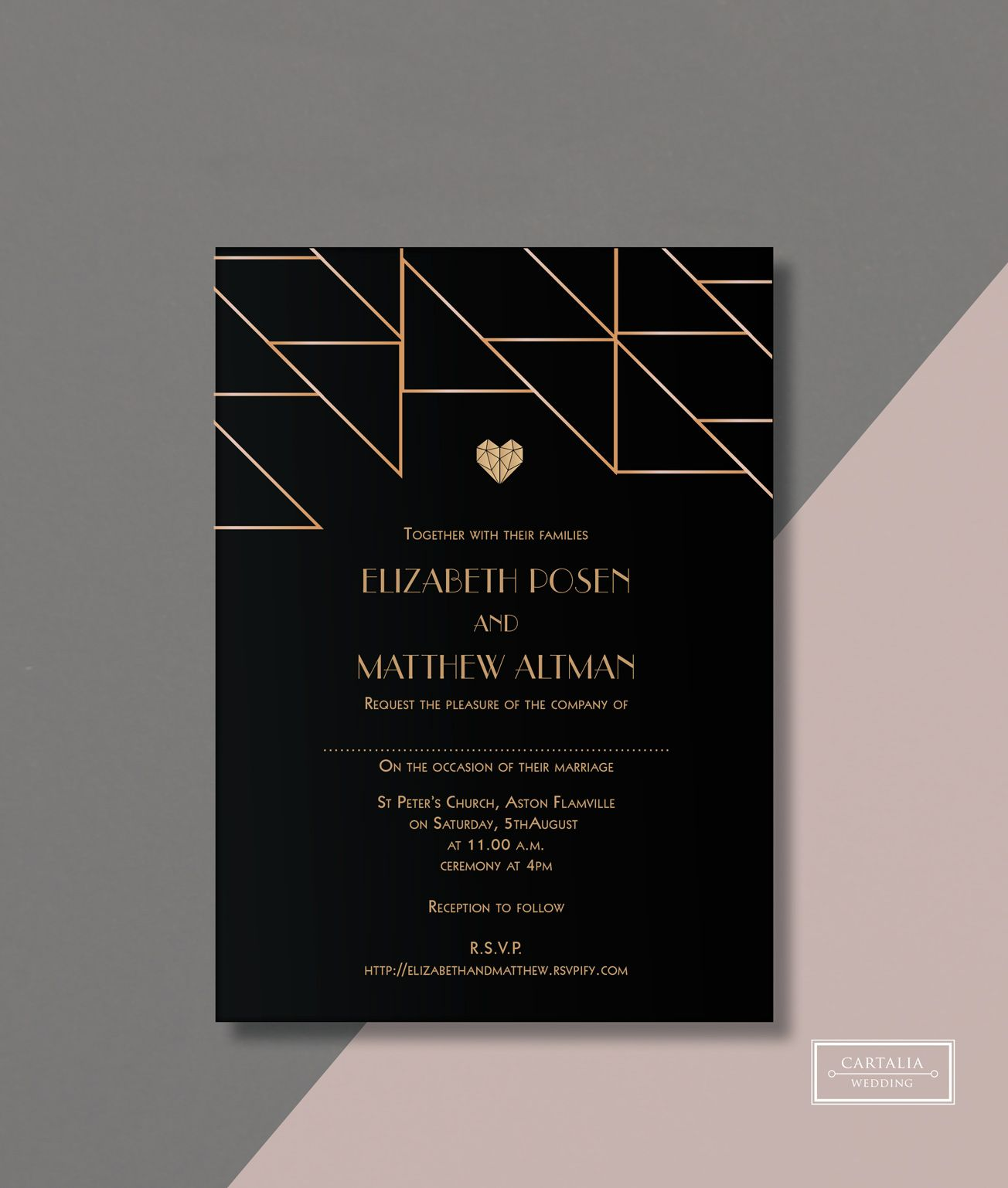 Geometric Heart Wedding Invitation Design With Gold Foil From Cartalia Perfect For Your Modern