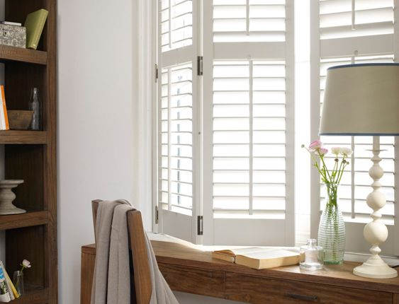 I want beautiful white cottage-style shutters for my windows. I am so DONE with yucky aluminum blinds!!