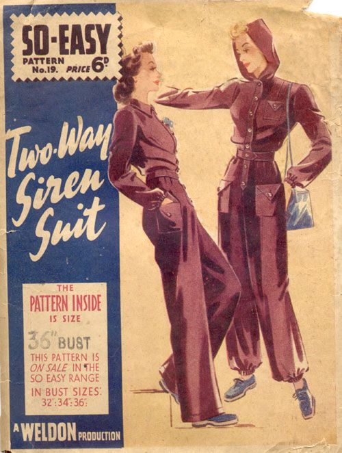 Weldons So-Easy Pattern 19 jumpsuit with or without hood 1940 ...