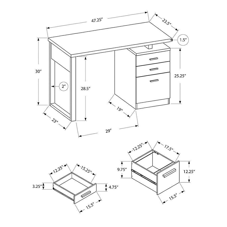 Monarch Specialties 48 Inch Computer Desk In Grey Black Metal Bed Bath Beyond Computer Desk Desk Dimensions Drawing Furniture