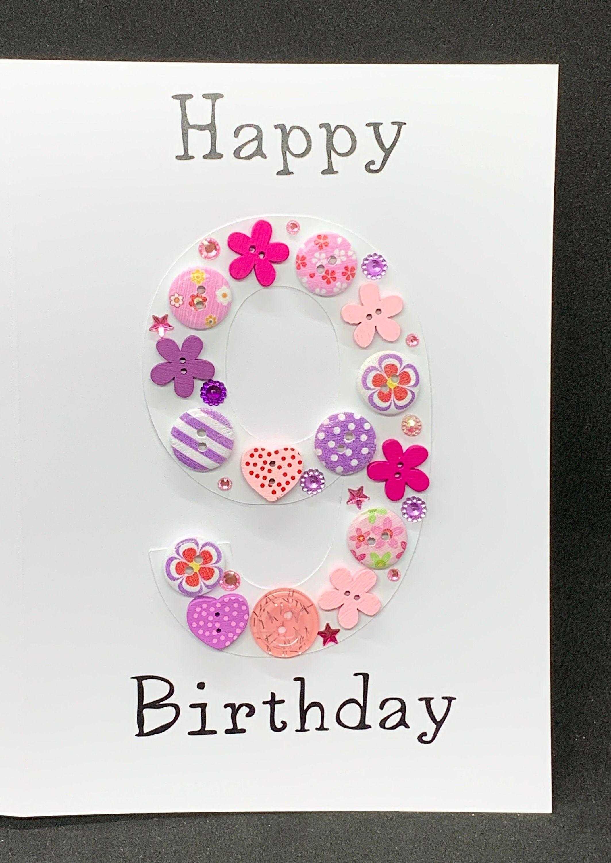 Happy 9th Birthday Card Personalised Birthday Card Card For Her Card For Him In 2021 21st Birthday Cards Cool Birthday Cards 90th Birthday Cards