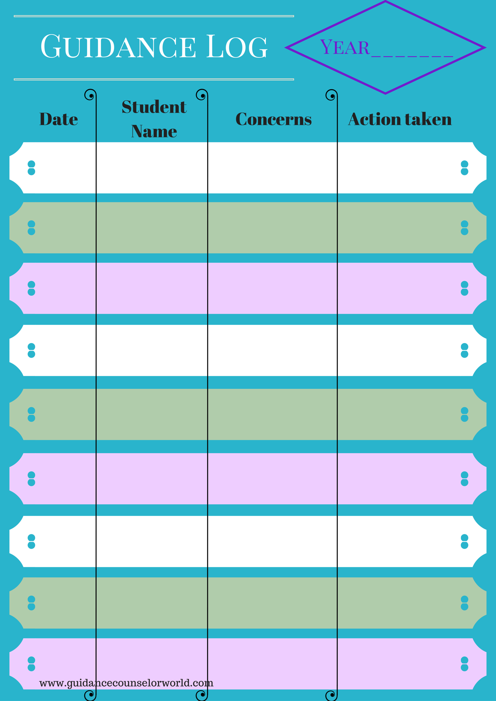 This Attractive Form Can Be Used To Log Students The Guidance
