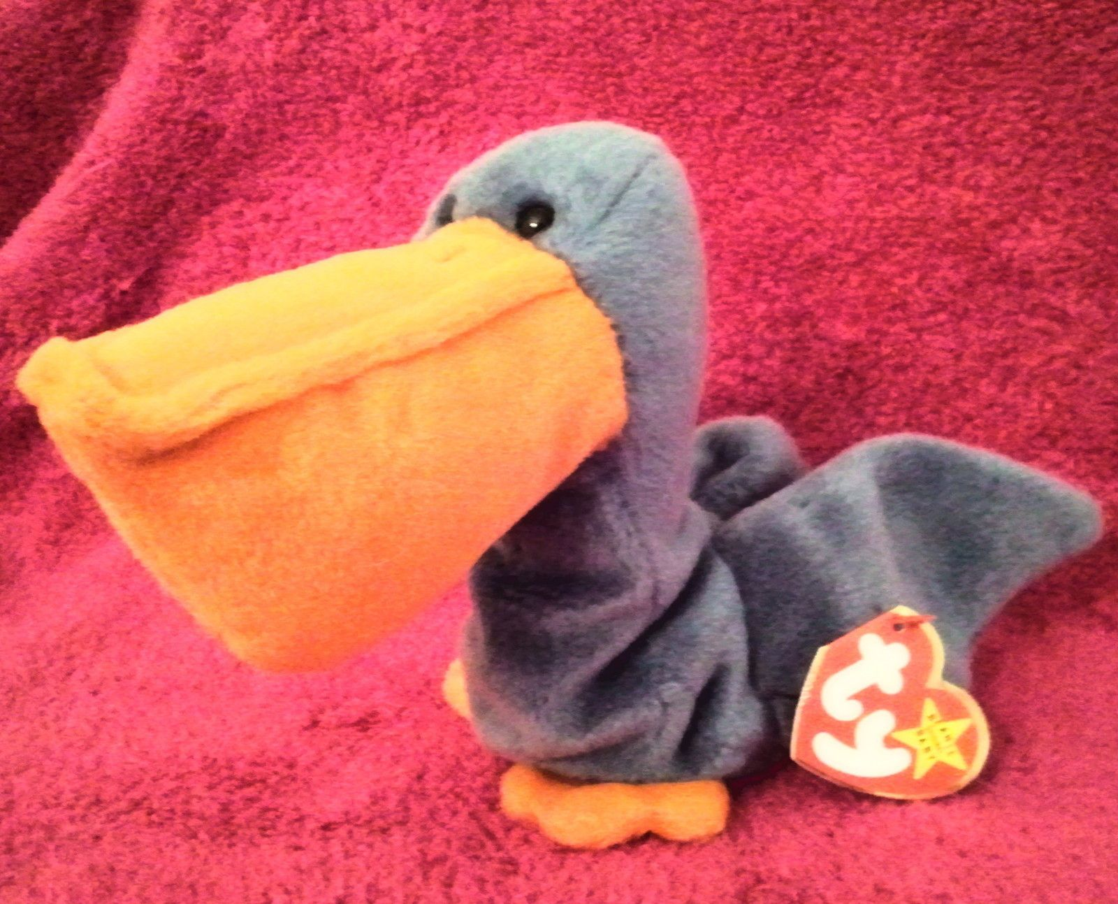 319df9c34fd BEANIE BABY SCOOPS PELICAN BIRD Vintage Retired MWMT Blue seagull ocean  stuffed