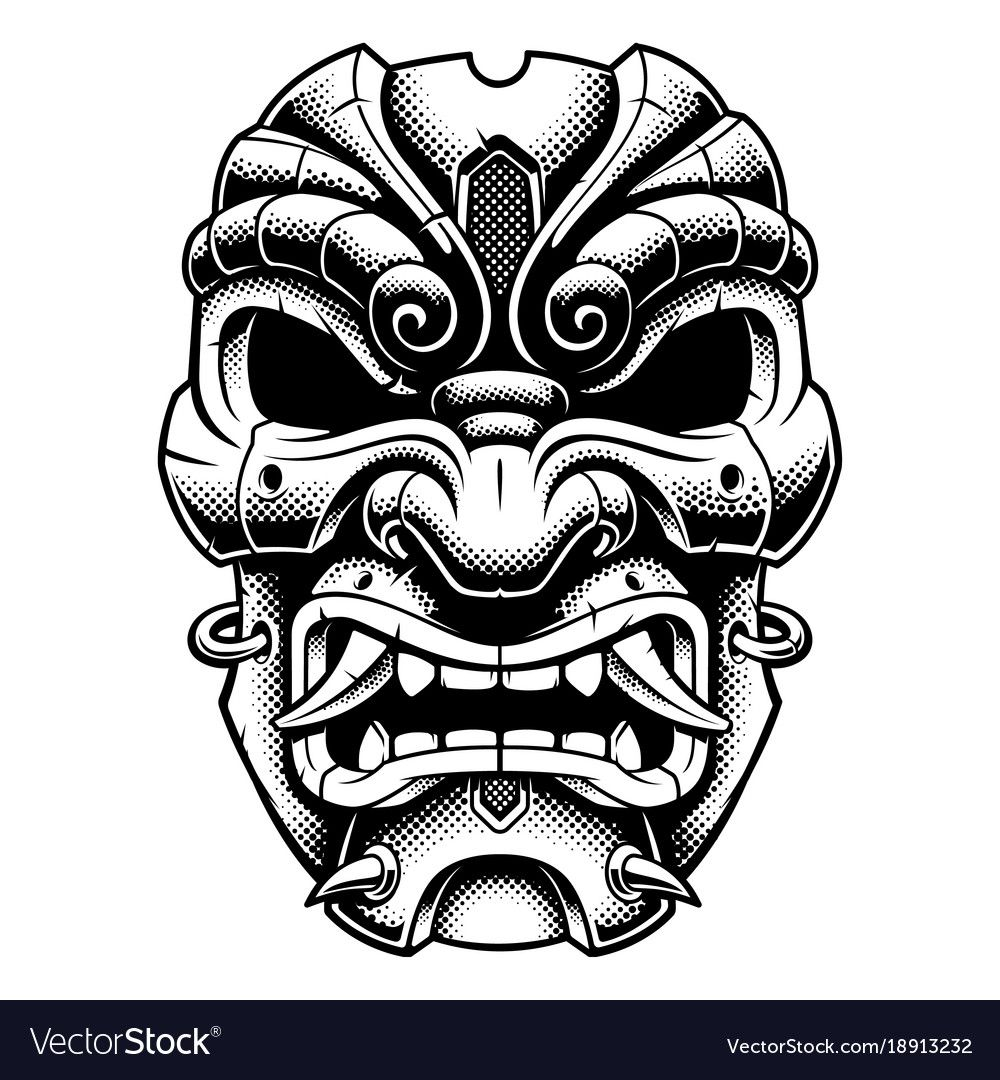 Samurai warrior mask. Vector illustration with old ...
