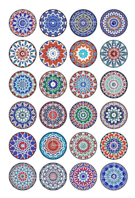 Iznik Mandala 3.54 pulgadas 9cm para imprimir círculos para