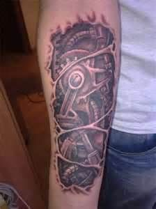 Torn Tear Skin Arm Ink Tattoo Tattoos Biomechanical Bio Mech Biomechanical Tattoo Biomechanical Tattoo Design Mechanic Tattoo