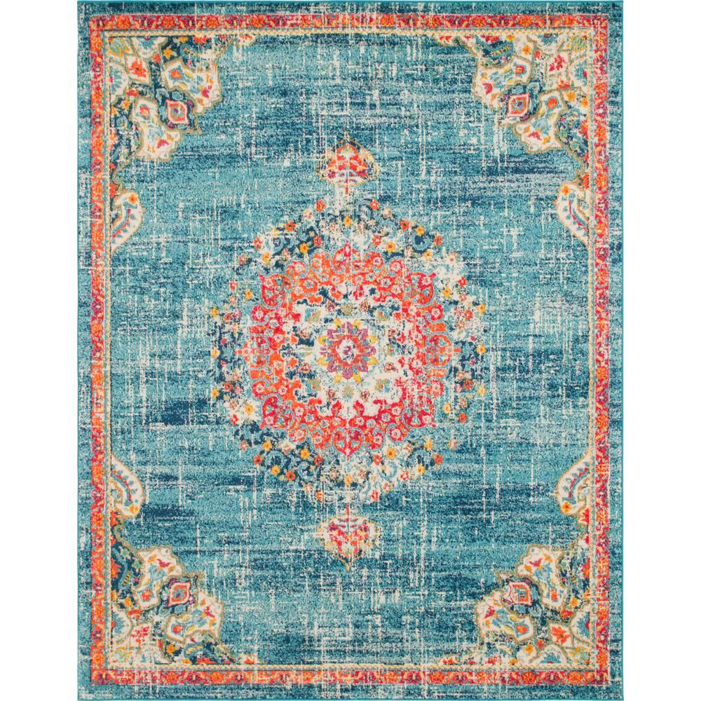 Unique Loom Penrose Alexis Blue 8 Ft X 10 Ft Area Rug 3143335 Area Rugs Floral Area Rugs Colorful Rugs