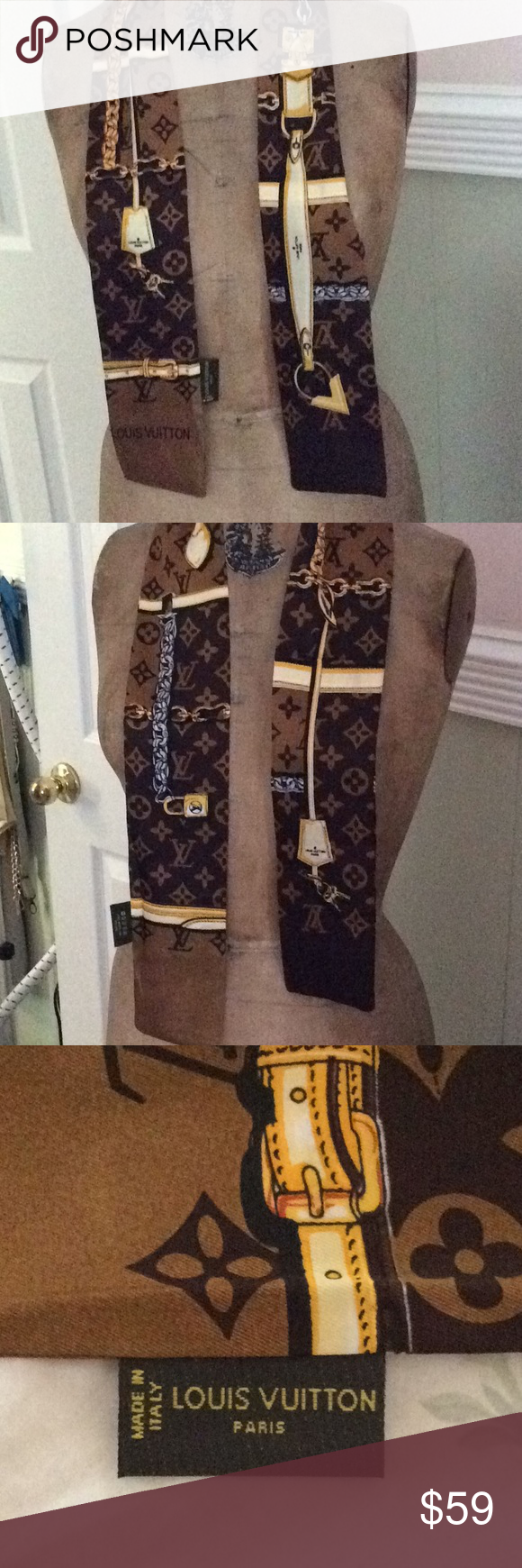 Louis Vuitton brown twilly bandana scarf used More loot