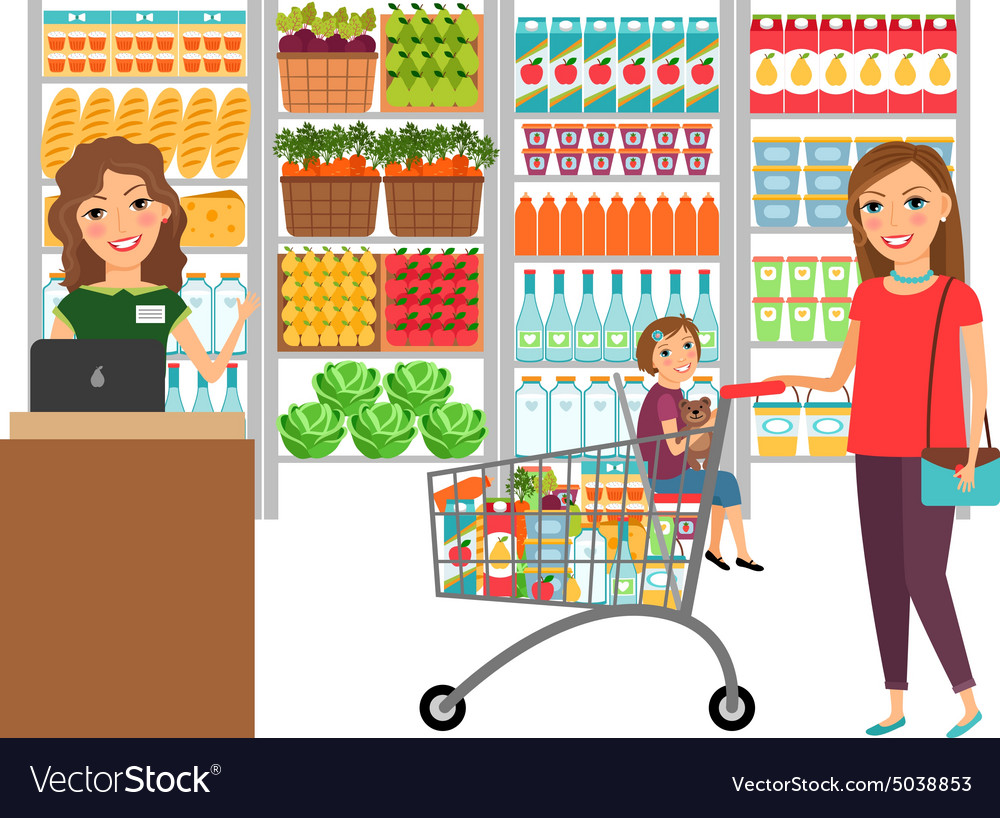 Vector Illustration Of Grocery Store Supermarket Illustration Supermarket Grocery Store Vector Illustration