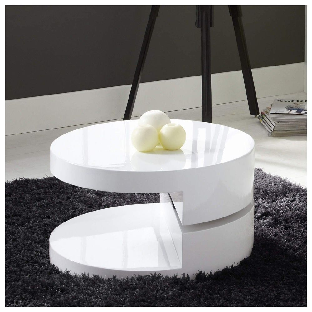 High Gloss White Coffee Table Modern Living Room Round Unique