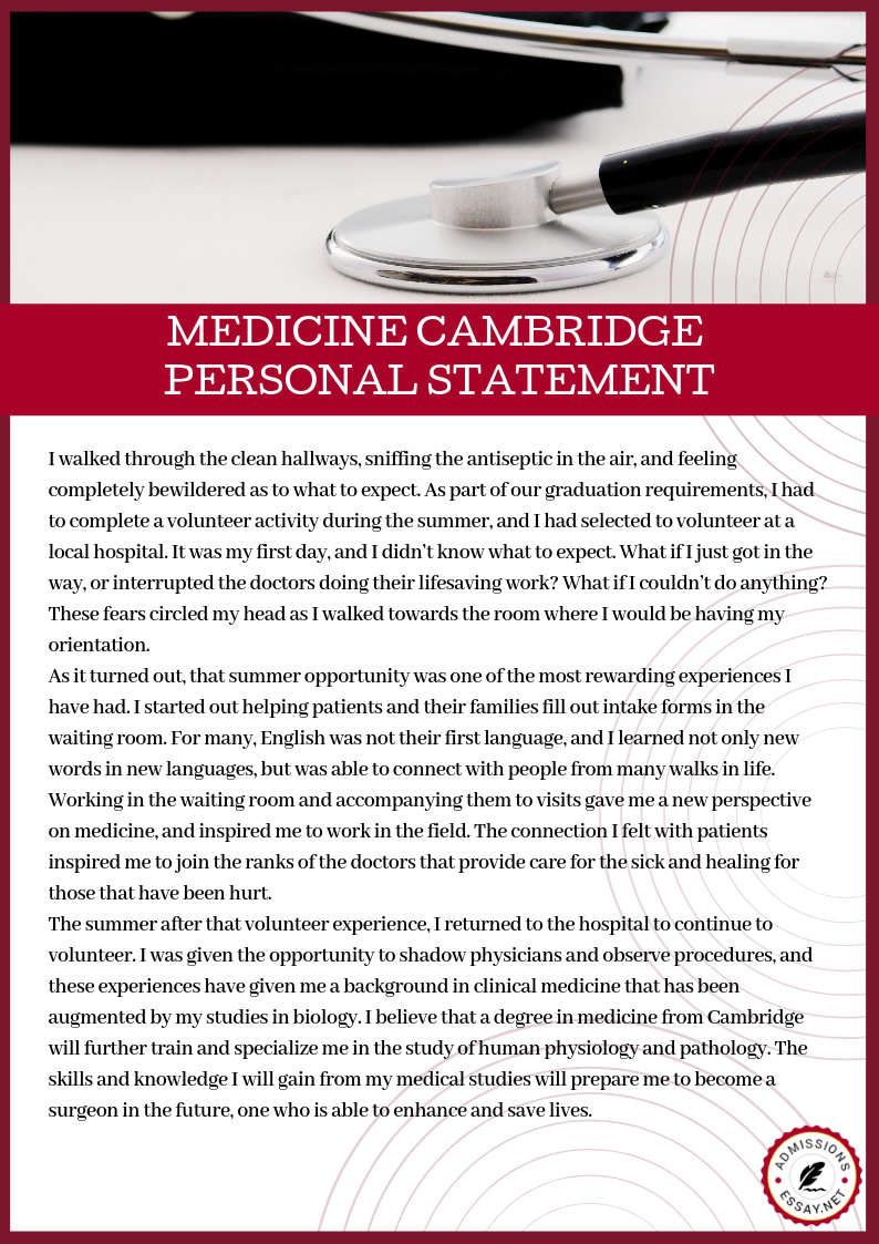 Medicine Cambridge Personal Statement Writing Service Admission Essay Buy
