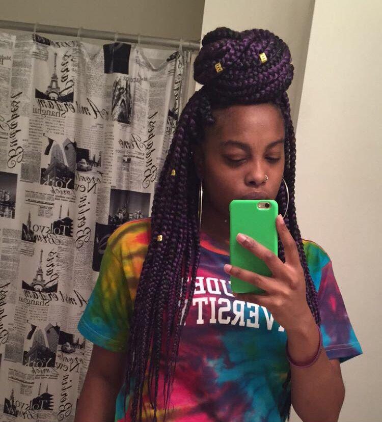 Purple Box Braids Rva Instagram Beautifullygifted Colored Box Braids Braid Cuffs Purple Box Braids Beautiful African Hair Colored Box Braids