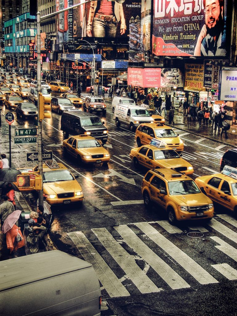 """""""new york taxis"""" by ShedBOy^ on Flickr - This depicts New York City taxis in Time Square, New York City."""