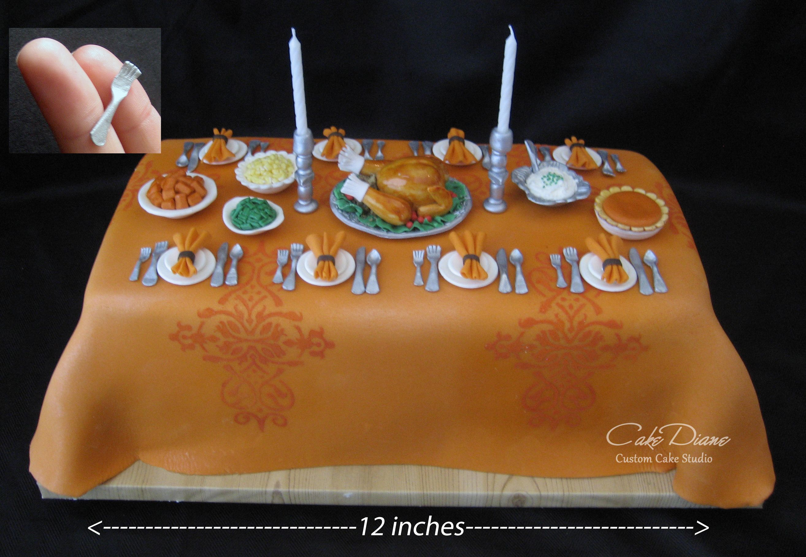 Miniature Thanksgiving dinner table cake
