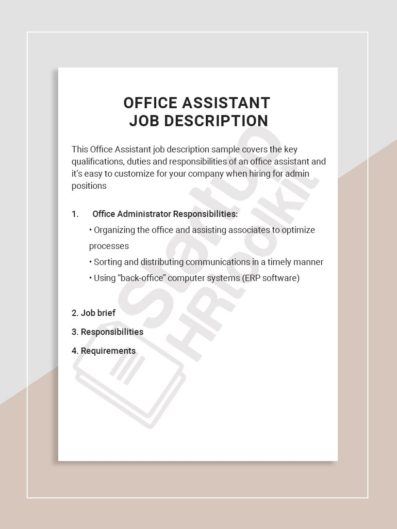 This Office Assistant job description sample covers the