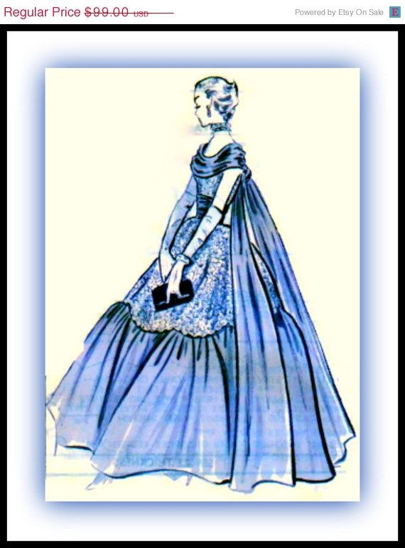 On SALE UNCUT 1950s Modes Royale Pattern 1543 - GORGEOUS Ball, Bridal or Evening Gown with Floating Panels & Chiffon Cummerbund  - Size 20