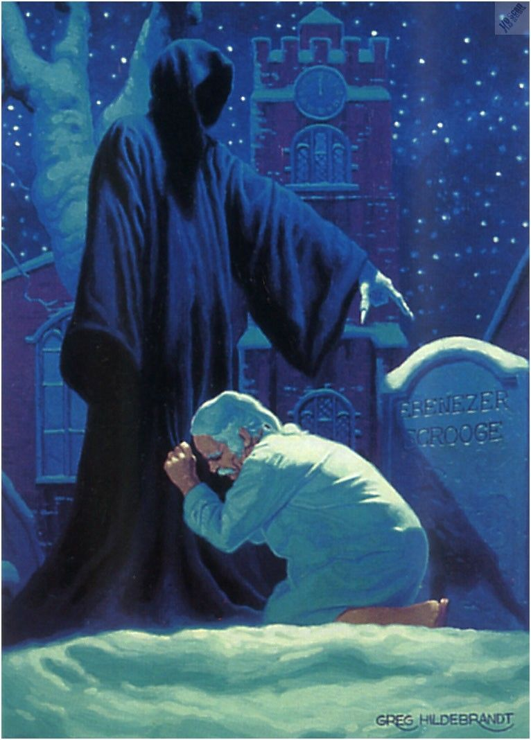 Scrooge and Spectre of the Future. | Dickens christmas carol, Christmas carol book, Scrooge a ...