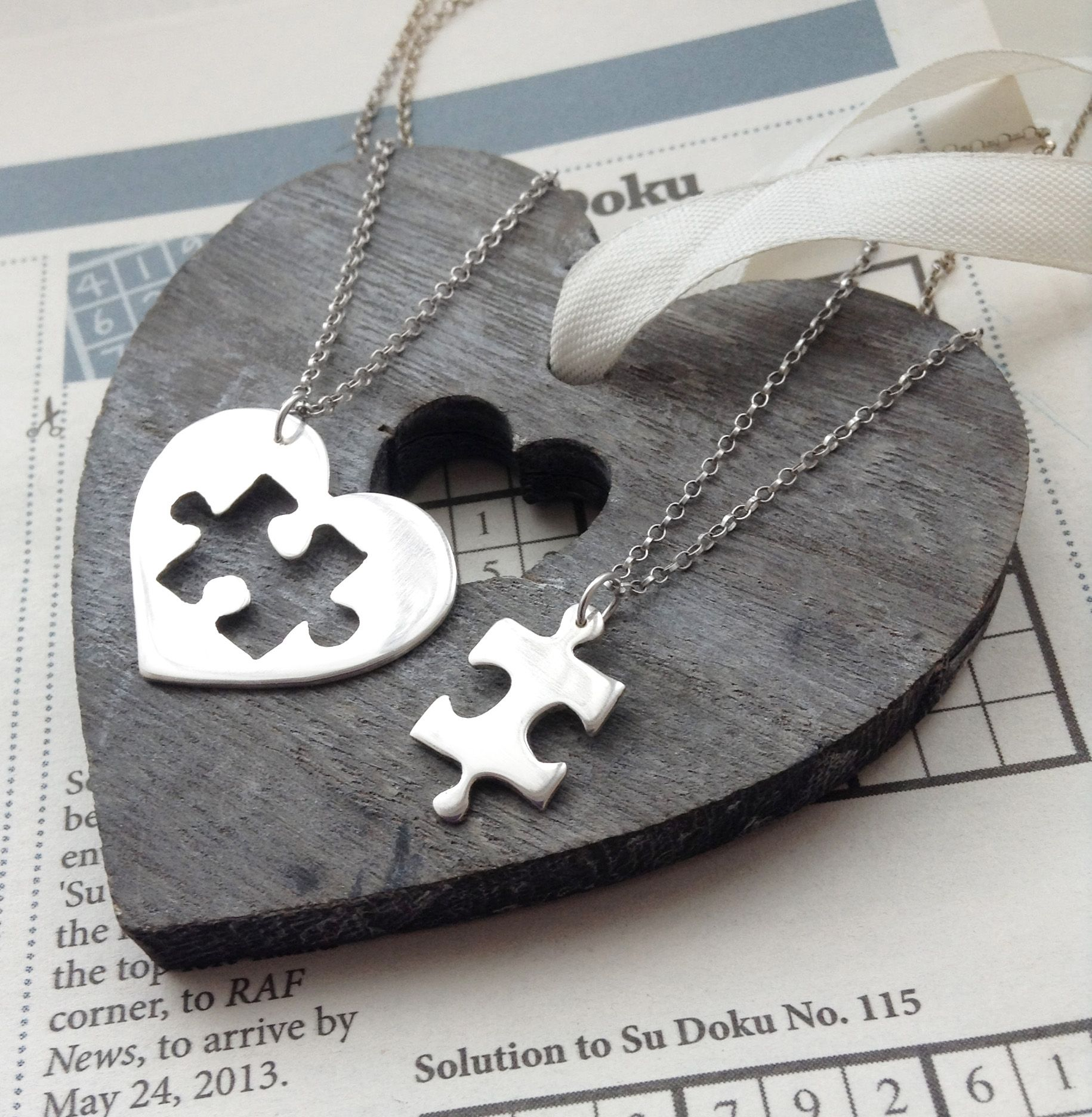 Two piece sterling silver best friends puzzle heart pendant two piece sterling silver best friends puzzle heart pendant necklaces by hannah jackson jewellery mozeypictures Image collections