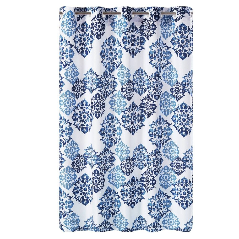 Alessandra Medallion Shower Curtain With Liner Blue Hookless