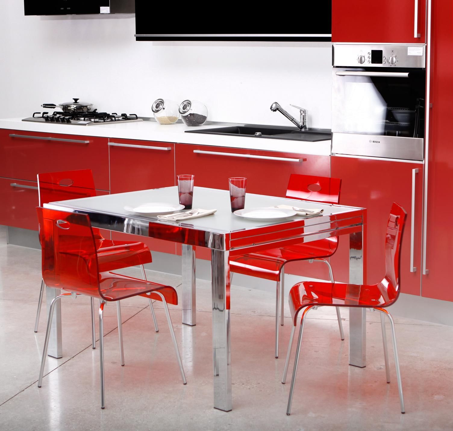 Cool Stylish Kitchen Mesmerizing Modern Red Gl Acrylic Dining Chairs And Square Stainless Table Cabinetry Glamorous Best Ikea Furniture With Expandable