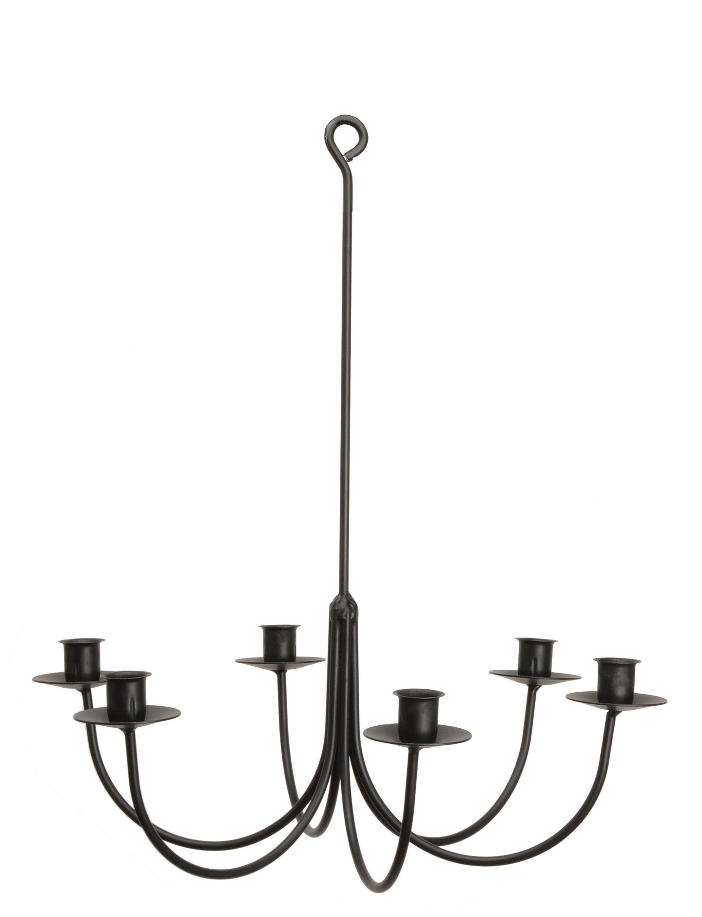 6 Arm Wrought Iron Candle Chandelier Handcrafted Colonial
