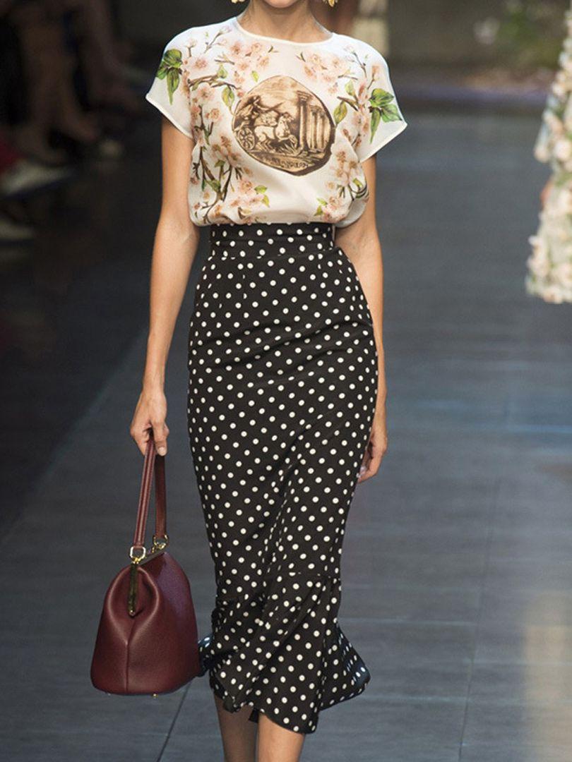 Vintage Blouse With Dot Fishtail Skirt