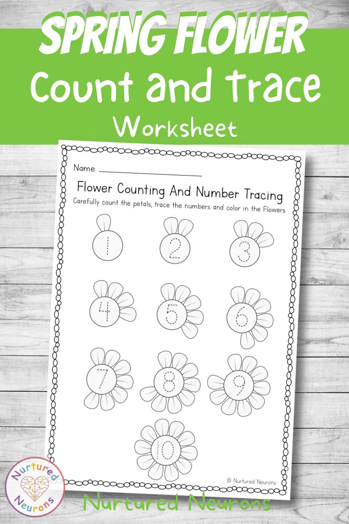 Spring Flower Counting Tracing And Coloring Worksheet Nurtured Neurons In 2021 Prewriting Skills Preschool Tracing Flower Math [ 1800 x 1200 Pixel ]