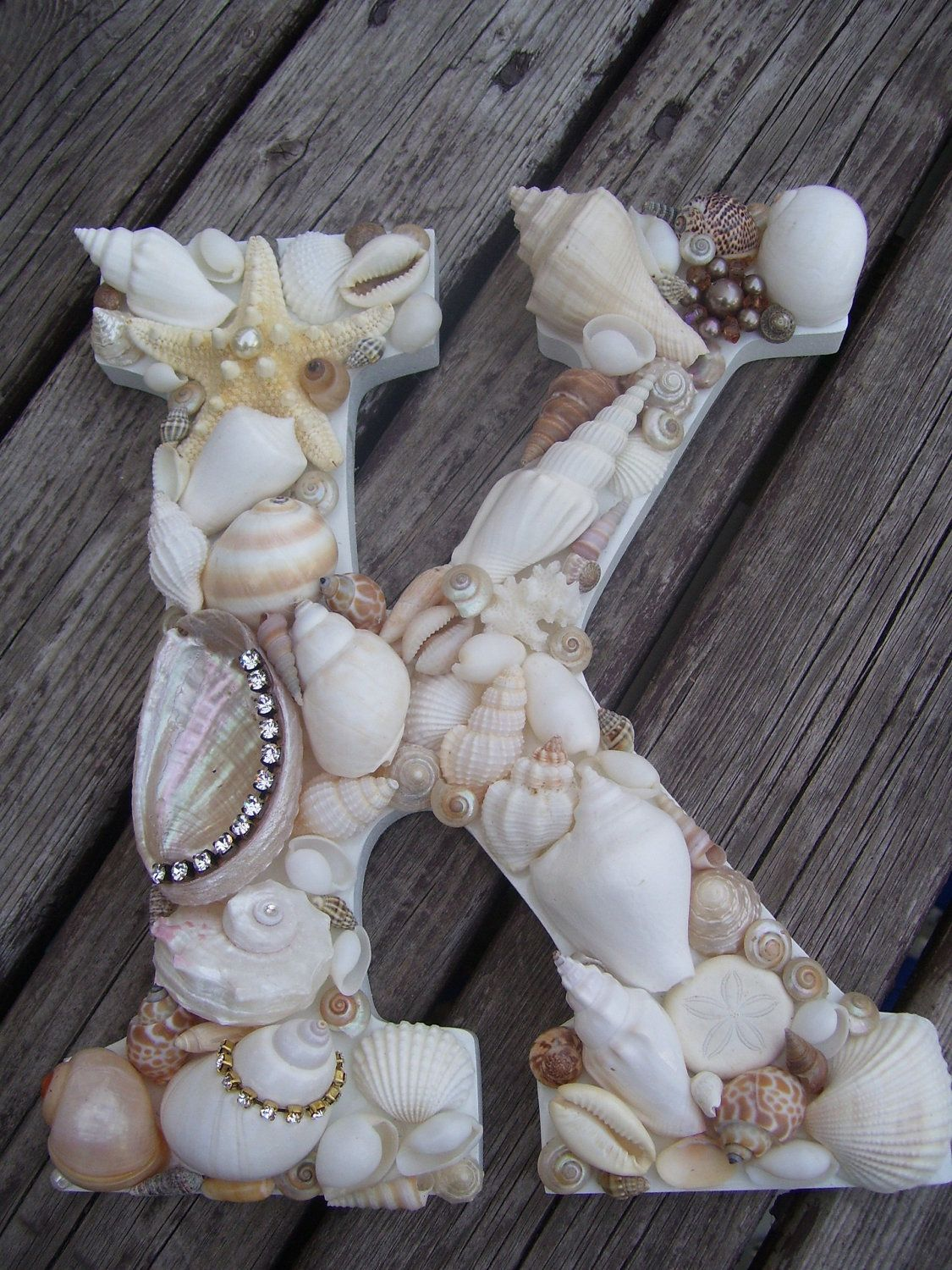 Shell Covered Lettersinitials Beach Themed Wedding Decor Beach