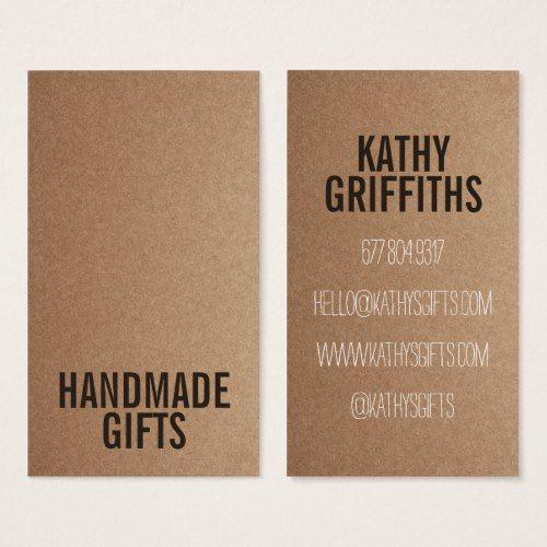 Brown rustic kraft paper diy handmade cardboard business card brown rustic kraft paper diy handmade cardboard business card reheart Image collections