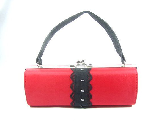 Red Art Deco Style Purse Cylinder Purse by KarensChicNShabby, $69.00