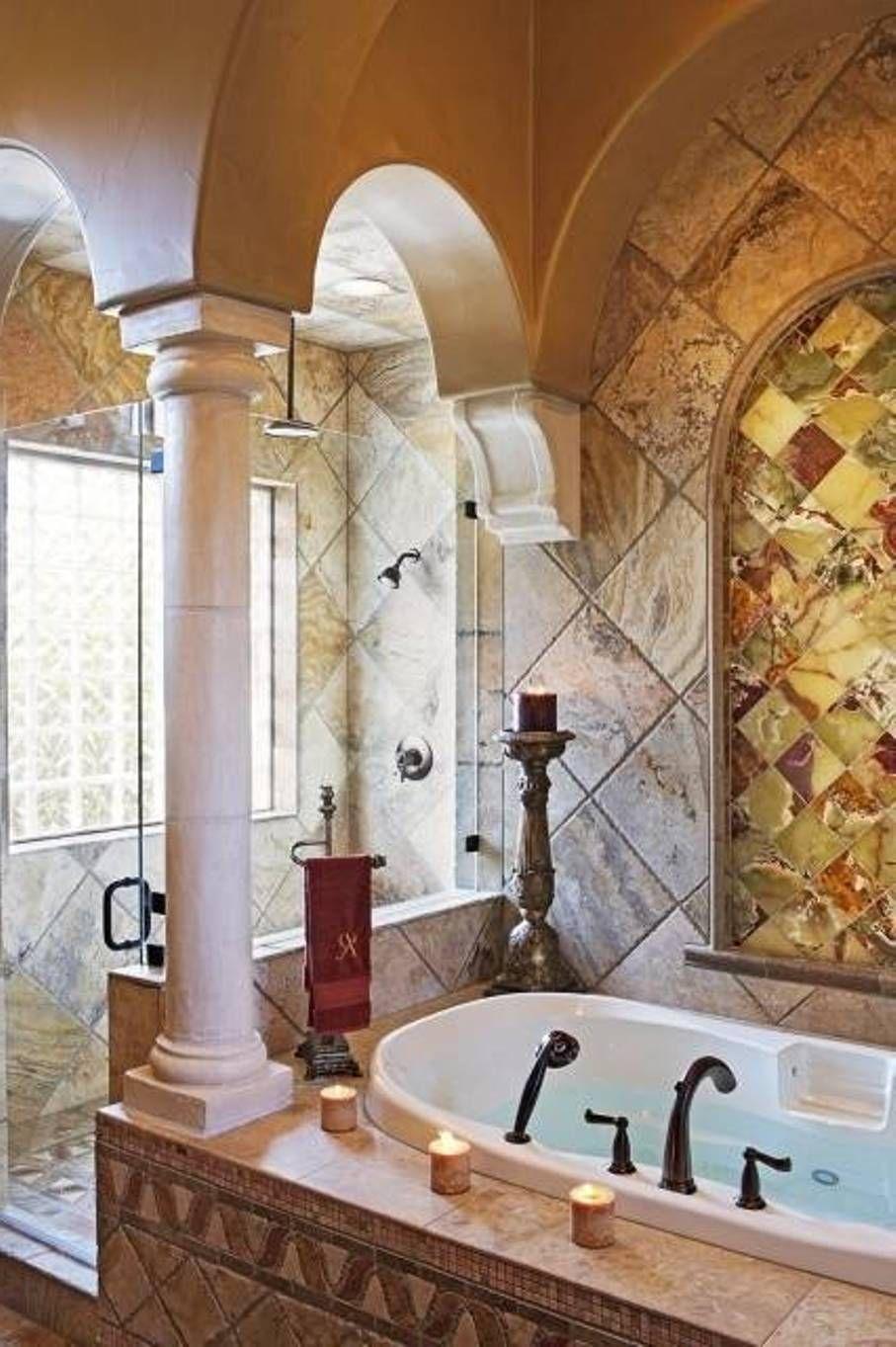 Astounding Warm Tuscany Bathrooms Designs