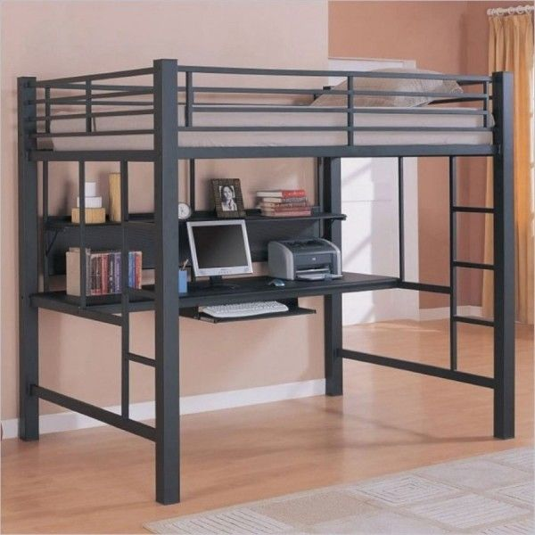 Bedroom Simple Gray Ikea Loft Bed With Floating Computer Desk And