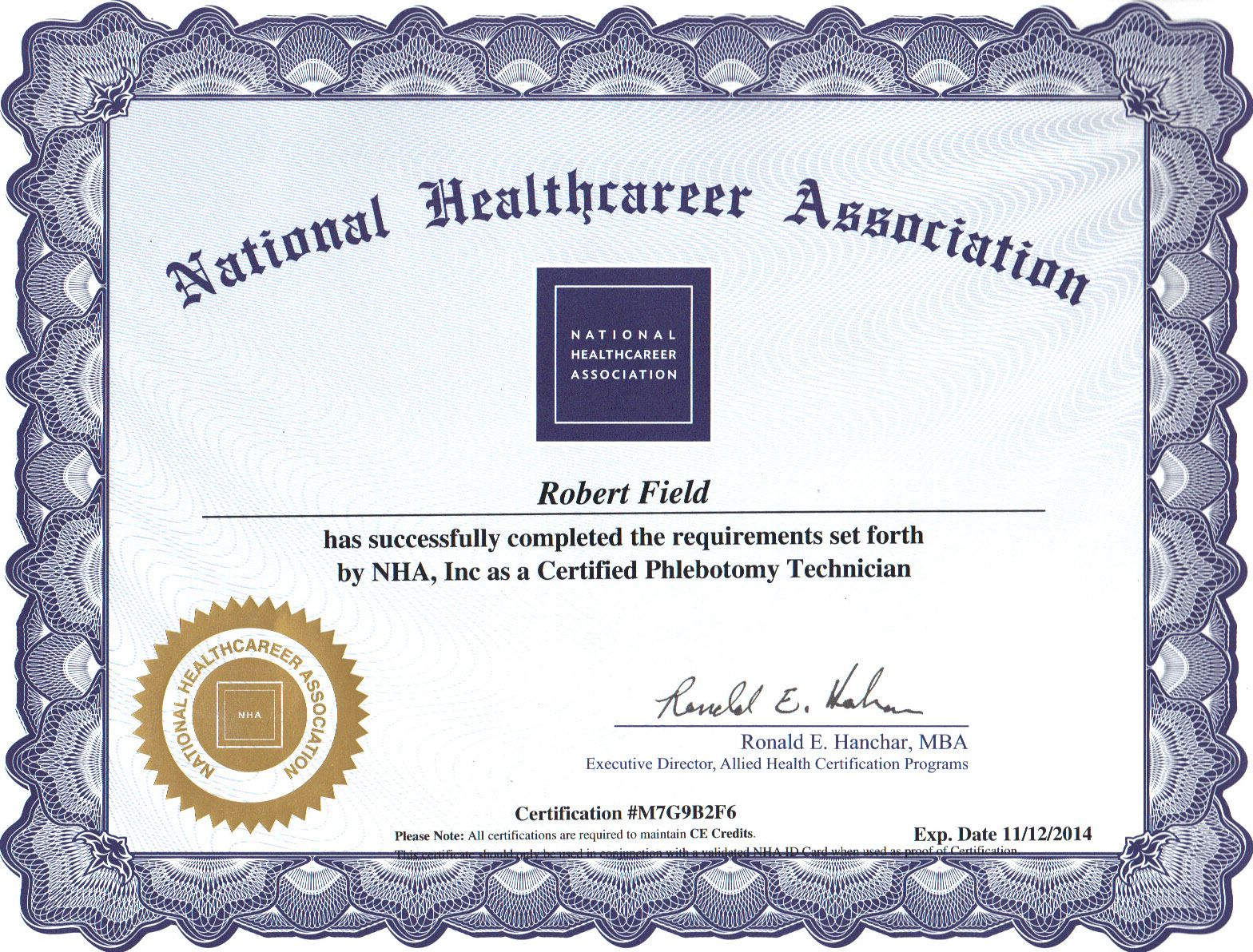 My National Phlebotomy Certification Diploma 2012 American Red