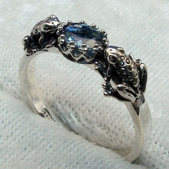 Natural Blue Sapphire 2 Frogs Ring Hand Crafted by PaulTheJeweler, $49.99