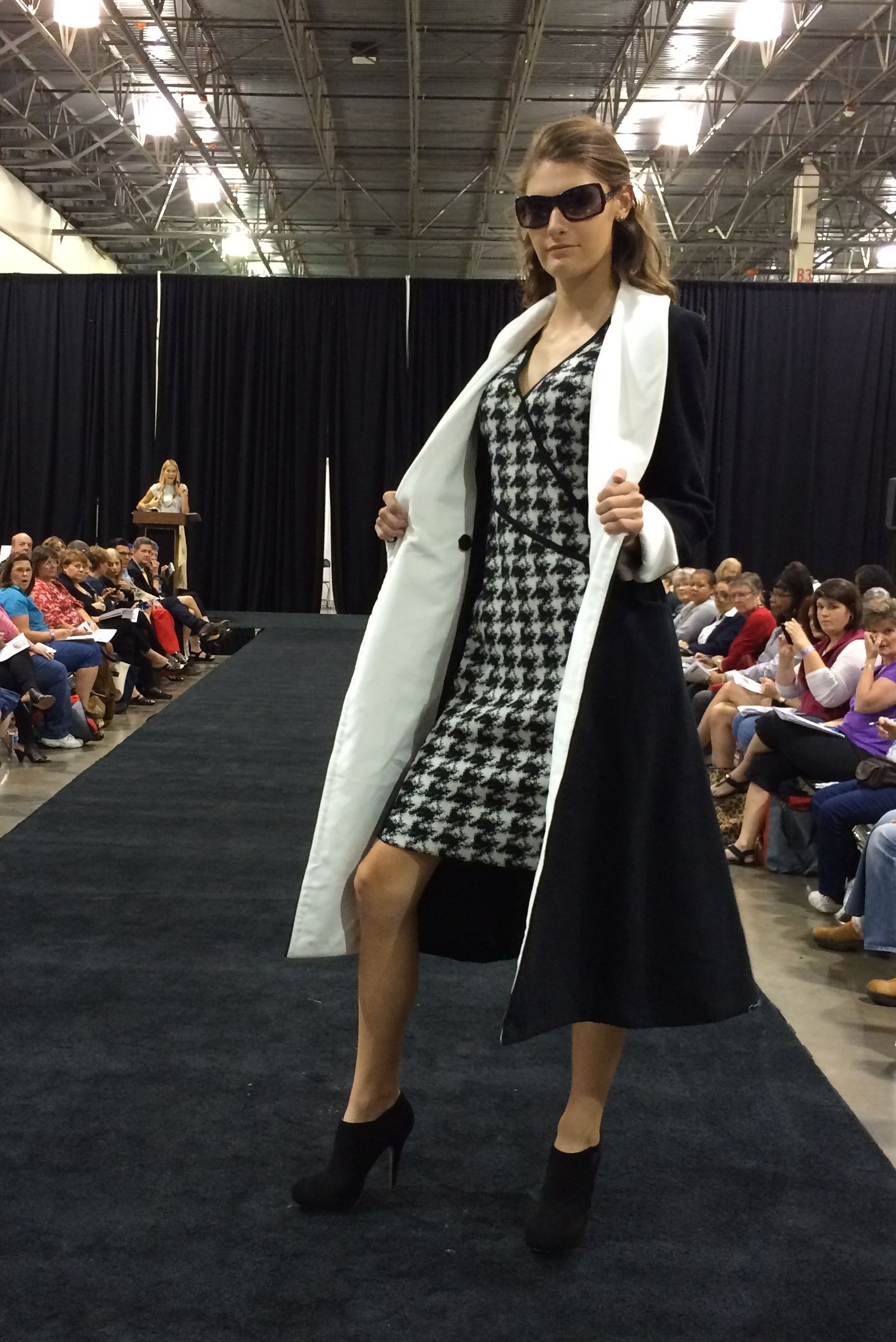 Vogue Patterns coat V9040 paired with DKNY dress V1407. As seen at the 2014 American Sewing Expo.