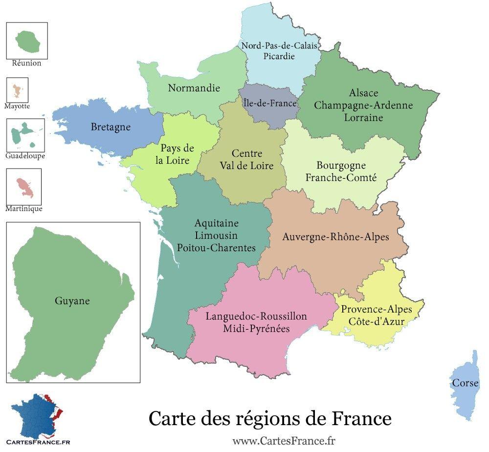 13 r gions pour la france m tropolitaine carte geografiche - Agenzie immobiliari francia ...
