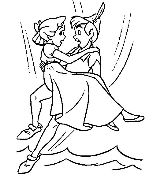 Peter pan bring wendy darling peter pan coloring pages for Immagini peter pan da colorare