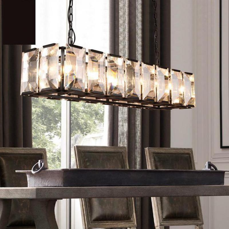 Modern Large Rectangular Crystal Lamp Living Room Led Chandelier For Restaurant Cafe Shop Long Cryst Rectangular Chandelier Lighting Design Interior Chandelier
