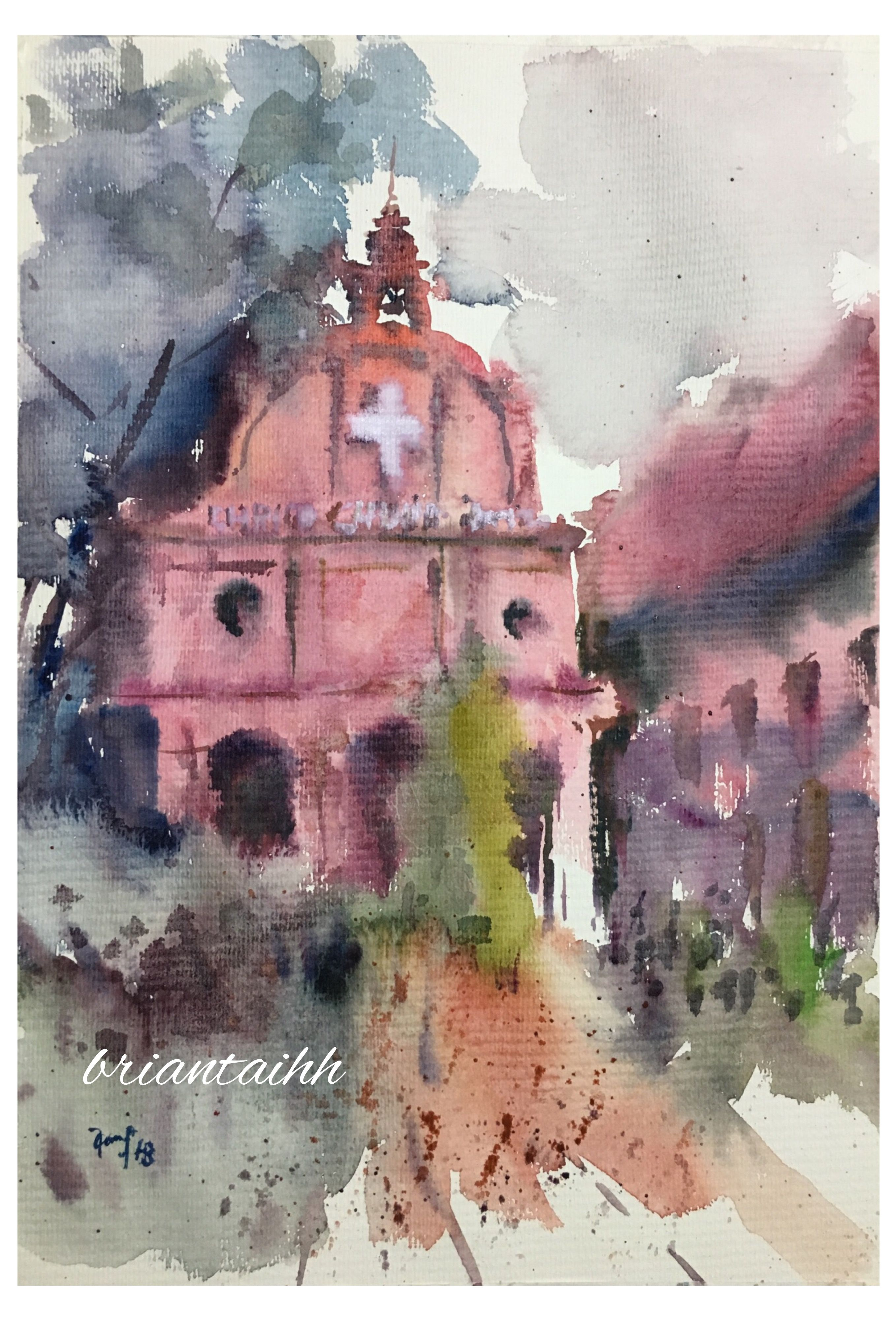Christ Church Melaka Watercolour By Brian Tai Painting