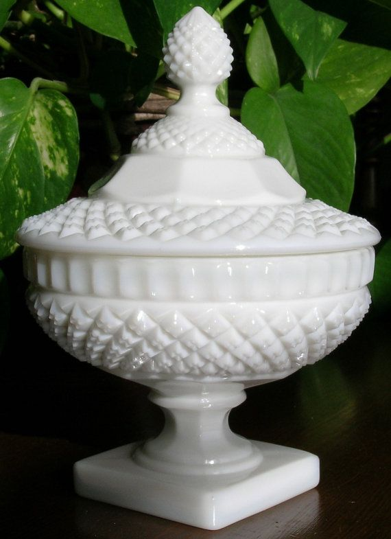 Vintage Candy Dish With Lid Waterford Milk Glass Stem No300