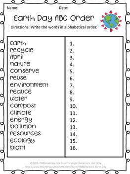 Enjoy this FREE Earth Day printable worksheet In this product you
